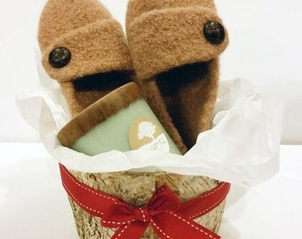 Gift Basket Set - Birch Bark Basket, Soy Candle & Wool Slippers
