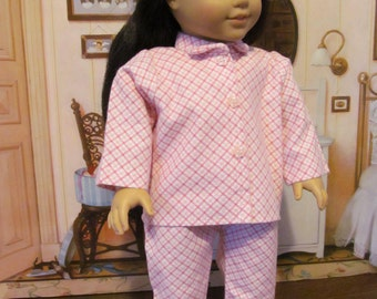 Flannel Pajamas, Plaid Pajamas, Sleepwear,  18 inch  Doll Clothes