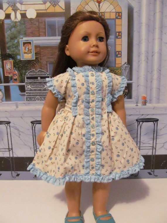 Floral Dress, Vintage  Dress,  Ruffled Dress, 18 inch Doll Clothes