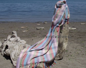 Turkishtowel-Hand woven,20/2 cotton warp and weft Rainbow,Diamond Turkish Bath,Beach Towel-Light Grey and cream stripes