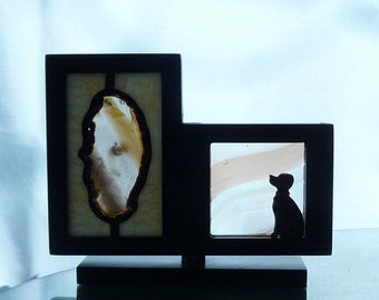 Geode and Dalmatian in Stained Glass, desktop, children's art, children's gift, animal lover's gift