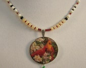 Cardinal Mates Beaded Necklace - Hand beaded- One of a Kind
