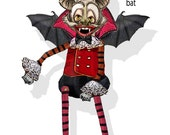 Steampunk  gothic Vampire bat puppet Paper doll DIY collage sheet