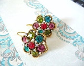 Brass earrings, plated, oxidized, multicolor, pink, green, red, crystal, dangle, flower, cute, clearance