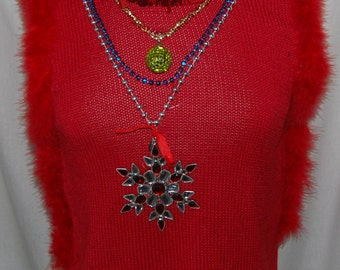 Ugly Christmas Sweater - red ugly holiday - women's large petite sleevless turtleneck - decorated - perfect for ugly sweater contest