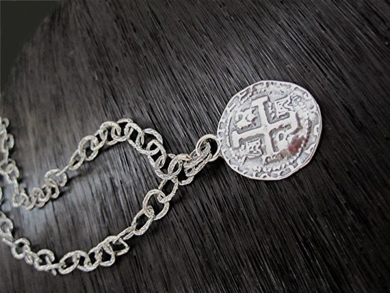 handmade spanish coin pendant and link necklace in sterling