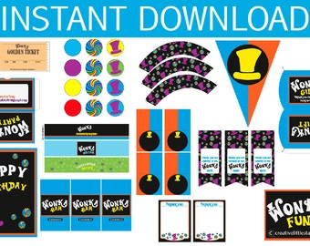 Willy Wonka Birthday DIY Blue Printable Kit - INSTANT DOWNLOAD