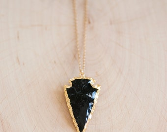 Black Obsidian Arrowhead Gold Necklace - Arrowhead Necklace - Layering Necklace - Bohemian Necklace - Boho Hippie Chic Necklace - Tribal