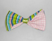 Flirty Diagonal Hair Bow - Pink Gingham and Stripes - Large Cotton Fabric Clip - Teen Girl Hair Barrette - Hairbow Clippie