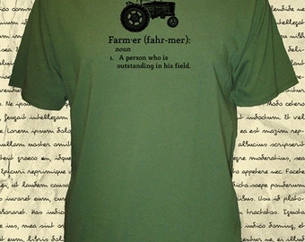 Farming Shirt - Mens Organic Farm Shirt - Tractor - Definition of Farmer Quote - Tshirt - 3 Colors - Tractor Gift Friendly