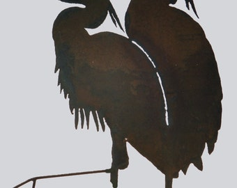 Double Heron Yard Art by Rustiques Garden Art