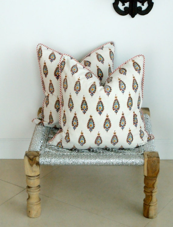 Pair Indian Hand Block Print Throw Pillows Organic Cotton