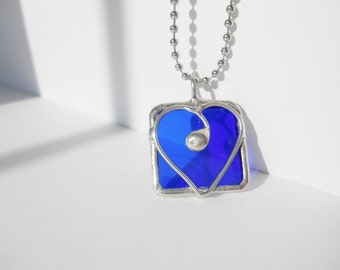 Blue stained glass heart pendant wire design one of a kind jewelry