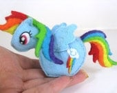 Fluffy Bottom Rainbow Dash Plushie--Miniature My Little Pony Friendship is Magic rainbow/blue plush READY TO SHIP