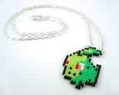 Pixelated Beaded Chikorita Pokemon Sprite Necklace - Starter Pokemon Grass Geeky Jewelry Nerdy