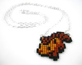 Pixelated Beaded Vulpix Pokemon Sprite Necklace - Geeky Jewelry Nerdy Gift Video Game