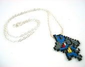 Pixelated Beaded Lucario Pokemon Sprite Necklace - Geeky Jewelry Nerdy Gift Video Game