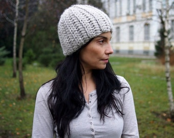 Crochet Pattern women beanie hat bulky woman winter basic hat  knt look, DIY photo tutorial, Instant download