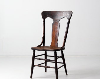 antique fiddleback chair, 1900s wood chair