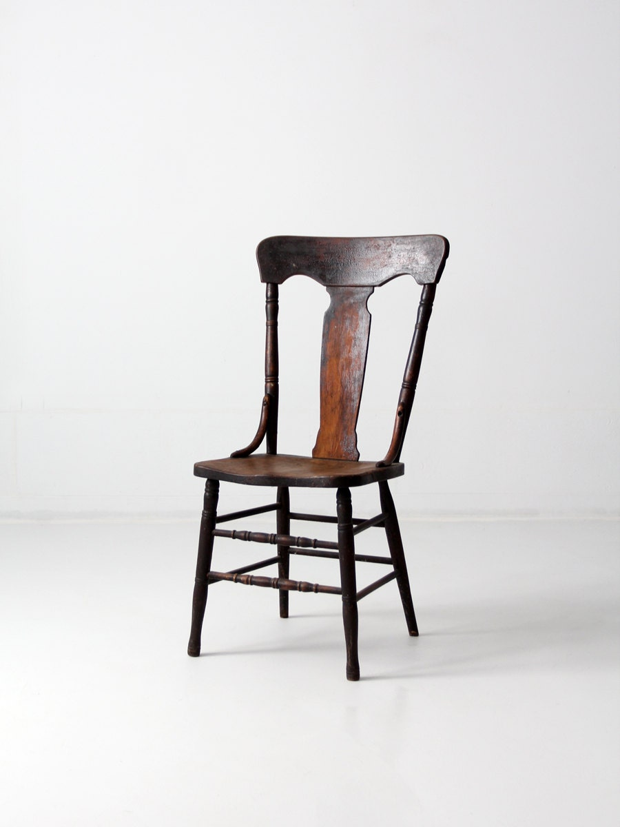 Antique Fiddleback Chair 1900s Wood Chair