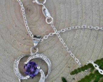 Purple Cubic Zirconia Flower 925 Sterling Silver Pendant              CC-81027