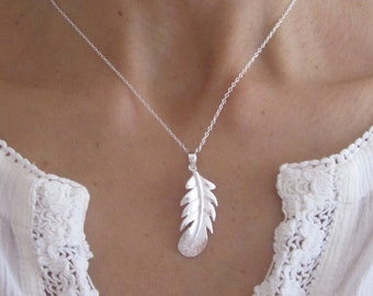 FEATHER sterling silver charm with chain, Tribal necklace, single feather necklace
