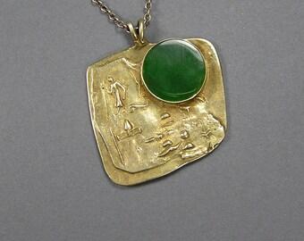 Egyptian Vermeil Pendant, Gemstone Pendant, Antiquity Fragment, Sterling Necklace, Symbols, Hieroglyph