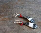 Scorched Earth ceramic art bead, turquoise, and sari silk urban tribal earrings