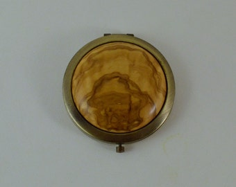 Bronze Compact Mirror with Olive Wood, Vintage Style, Pocket Mirror, Beauty Mirror, with Velvet Pouch, Make Up Mirror
