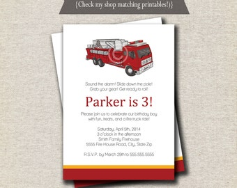 Fire Truck Invitation   Firefighter Invitation   Vintage Fire Truck Invite   Firetruck Invite   digital printable