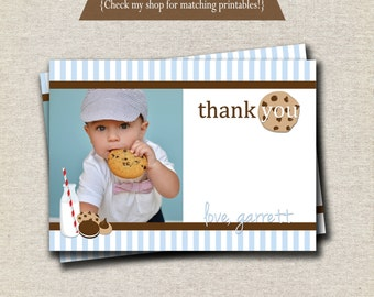 Milk and Cookies Thank You Card - blue and brown | Milk and Cookies Photo Card | digital printable