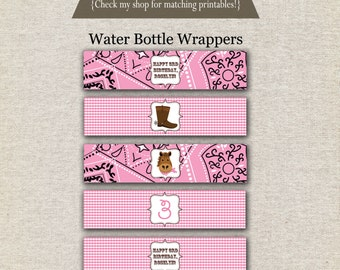 Cowgirl Water Bottle Labels - pink | Cowgirl Water Bottle Wrappers | Cowgirl Drink Labels | Western Birthday Party Printables