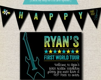 Rock Star Birthday Party Kit - printable invitation, thank you card, banner, sign, party circles, favor tags, food drink labels, tent cards