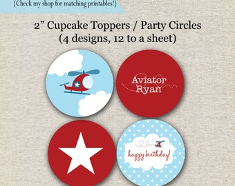 Helicopter Party Circles | Airplane Cupcake Toppers | Helicopter Aviator stickers | Airplane Birthday | digital printable