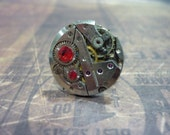 Steampunk Watch Movement Ring with Red Swarovski Crystals - Great for a Christmas gift!