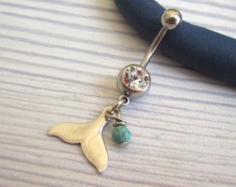 Whale Tale Belly Button Ring - dangle belly ring - Belly Ring - Belly Button Jewelry - Navel Jewelry - surgical steel - body jewellery