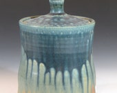 Blue Orange Stoneware Pottery Jar Canister (YCP444)