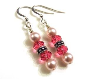 Pink Swarovski Pearl & Crystal Earrings, Pink Earrings, Pink Dangle Earrings, Pink Pearl Earrings, Sterling Silver, Crystal Earrings