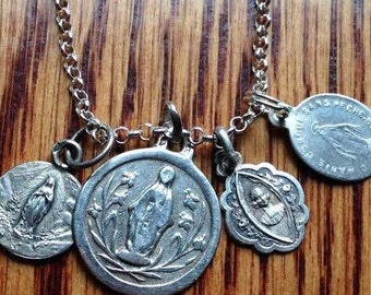 "French Devotional Collection Vintage Silver Religious Medals Pendant on 18"" sterling silver rolo chain"