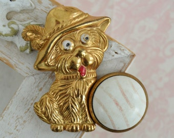 Vintage Dapper Puppy and Faux Stone Brooch