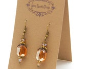 Gifts under 10 - Pretty little glass bead earrings with filigree - special holiday price!  SST3119