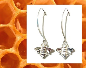 Bee Earrings, Sterling Silver Earrings, Minimalist Earrings, Dangle Earrings, Honey Earrings, Wing Earrings, Birthday Gift for Her, APIS