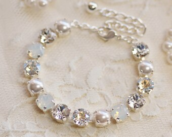 Swarovski White Diamond Mist Pearl Rhinestone Tennis Bracelet,Swarovski Crystal & Pearl Bracelet,White Opal,Opal Bracelet,Bridal,Wedding