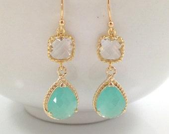 Mint Earrings - Long Mint Opal Glass Teardrop White Glass Square Wedding Bridal Bridesmaids Earrings Graduation Prom Valentines