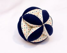 Puzzle Ball Handmade for Baby in Retro Dots & Navy