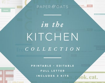 In The Kitchen Collection of 3 Editable Printable Sets of Kitchen Organization, Meal Planning, Pantry Labels & Recipe Cards / PDF Printables