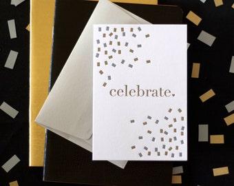 Celebrate / Celebration / Congratulations Confetti Letterpress Card