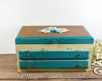 Extra Large jewelry box / Jewelry holder / embellished /  jewelry organizer / wooden / shabby chic