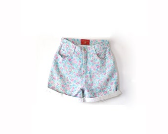 Vintage SMALL floral spring shorts // Blue floral summer daisy duke shorts // boho beach shorts // rolled up high waisted shorts // florals