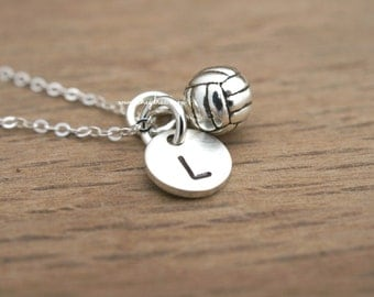 VOLLEYBALL PLAYER GIFT, Volleyball Gifts, Volleyball Player Necklace, Sterling Silver Volleyball Necklace, Initial Necklace by Cheydrea